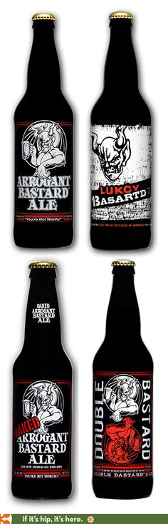 Arrogant Bastard Ale, Oaked Arrogant Bastard, Lukcy Batsard and Double Basartd beer bottles.