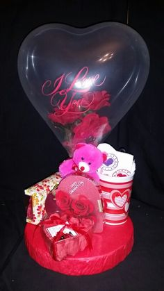 Valentine's Day Heart / Flower Stuffed Gift Balloon by Niftygiftsbystacy
