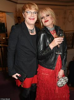 Eddie Izzard (L) and Joanna Lumley attend the British Fashion Awards in partnership with Swarovski at the London Coliseum on November 2015 in London, England. (Photo by David M. Jennifer Saunders, Eddie Izzard, Joanna Lumley, British Fashion Awards, British Style, Look Cool, Crossdressers, Cute Couples, Leather Jacket