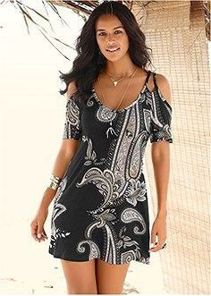 PAISLEY PRINT DRESS Cold shoulder styling and paisley prints are two of this season's trendiest looks! This print dress with its deep scoop front and short length adds some flirty fun to this wear-it-anywhere casual style. Casual Day Dresses, Summer Dresses, Mini Dresses, Beach Dresses, Party Dresses, Summer Outfits, Formal Dresses, Black Cold Shoulder Dress, Formal Dress Shops