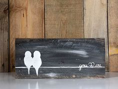 Rustic Wood Signs Reclaimed Wood Art Anniversary Gift Love Bird Painting Bird on a Wire Wall Art Wood Newlywed Gift You and Me Sign Rustic Wood Signs Reclaimed Wood Art by LindaFehlenGallery