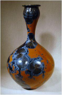 Blue on Orange Crystalline vase - Eck McCanless