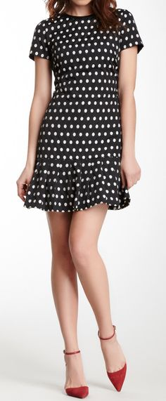 Polka dot flounce dress