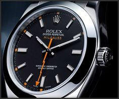 Rolex milgauss, reinvented. Classical watch with a twist. Although this watch is meant to sustain a milgauss which is a measure for electro magnetic force, it just looks great.