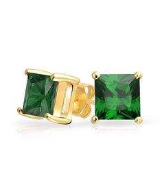 Gold Vermeil Green Emerald Color Princess Cut Stud Earrings