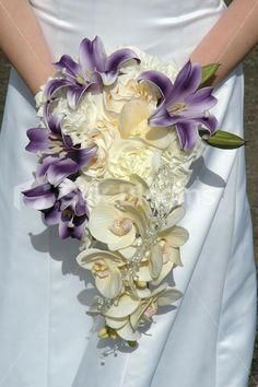 wedding boquets with purple, yellow, silver | Wedding Bouquet Luxury Purple  Ivory Cascading Shower Wedding Bouquet ...