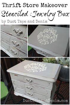 Thrift Store Makeover, big jewelry box, stenciled & chalk paint DIY | DuctTapeAndDenim.com