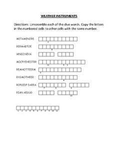 Word Scramble: Weather Instruments