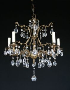 ANTIQUE VINTAGE MADE IN SPAIN BRASS 5 LIGHT CHANDELIER WITH 65 CRYSTALS in Antiques, Collectibles | eBay