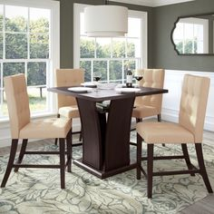 Have to have it. CorLiving Bistro 5 Piece Counter Height Dining Set - Rich Cappuccino/Tufted Desert Sand - $1197 @hayneedle