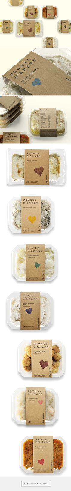 "Pronti D'Amare on Behance curated by Packaging Diva PD. ""Pronti d'amare"" in Italian means ""ready to love"", but sounds like ""ready from the sea"". Bakery Packaging, Food Packaging Design, Coffee Packaging, Bottle Packaging, Food Design, Design Ideas, Design Design, Graphic Design, Comida Delivery"