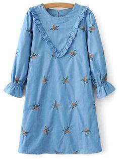 Frilled Chevron Pattern Tunic Dress - BLUE S