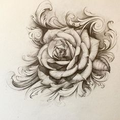 The first drawing of 2016, but the client just wants the plain rose in the middle. Looking for someone else wants a tattoo like this