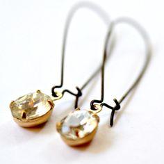 Oval Hoop Crystal Earrings by NestPrettyThingsShop on Etsy