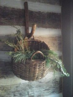 Use old cane for hook! Primitive Christmas, Country Christmas, Simple Christmas, Christmas Ideas, Primitive Furniture, Colonial Furniture, Primitive Decor, Old Baskets, Primitive Homes