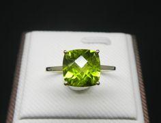 Engagement Ring -  3 Carat Peridot Ring In 14K Yellow Gold. $399.00, via Etsy.