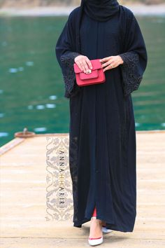 dubai style abayas and more at www.annahariri.com embroidered abaya LULU lace abaya in Black