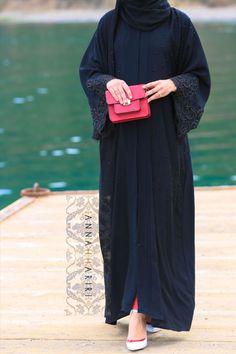 dubai style abayas and more at www.annahariri.com embroidered abaya LULU lace abaya in Black