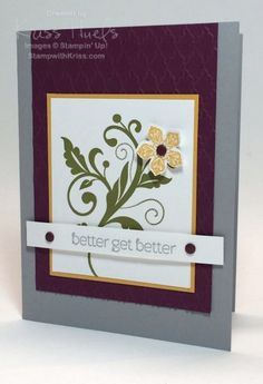 Use petite petals and flowering flourishes Stampin' Up! stamp sets together - get well card, stampin up, card ideas - http://stampwithkriss.com/petite-petals-meets-flowering-flourishes