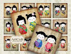 KOKESHI TWINS  2x2inch Images Printable Digital Collage por ArtCult, $4.60