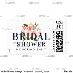 Bridal Shower Postage | Navy and Pink Watercolor Custom wedding bridal shower postage stamps feature midnight / navy blue custom text that can be personalized for your event with a beautiful watercolor floral bouquet of greenery with pastel pink, blush, and peach spring dahlia and rose flowers
