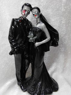 """@ Rochelle!  A must for the   """" WALKERS""""  wedding!     Zombie Couple Wedding Cake Topper"""