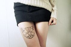 Geometric Kitty - http://www.pairodicetattoos.com/geometric-kitty/