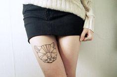 Geometric Kitty - http://www.pairodicetattoos.com/geometric-kitty/
