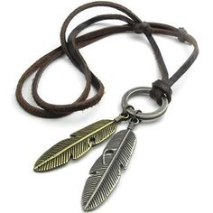 KONOV Vintage Angel Feather Pendant Leather Cord Mens Necklace Chain,... ($8.99) ❤ liked on Polyvore featuring men's fashion, men's jewelry, men's necklaces, mens chain pendants, mens gold chains, men's gold chain necklaces, mens gold necklace and mens silver necklace