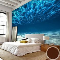 Customized modern 3D underwater ocean floor theme wallpaper. Quality non-woven deep sea design wallpaper for walls. Free shipping on all our wallpapers.