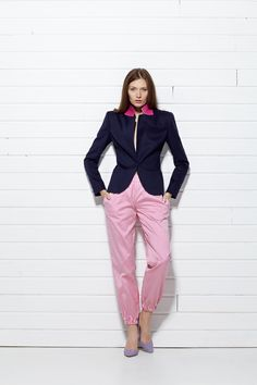#PLAKINGER #SS15 #collection #LOOK VI Navy #blue #blazer #tailored from a #sumptuous virgin #wool and #angora blend, it features a contrasting under collar made from a #vivid #pink #silk #jacquard. #Tailored cut, a covered button, fully lined in pale pink. #Styled with pink #striped #pants cut from a #mikado woven silk. Elasticated waistband and cuffs. #byplakinger #fashion #feminine #style #newbrand #newcollection #springsummer15 #emergingdesigner #collection #brand #menswearinspired…
