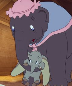 Jumbo (Verna Felton) is Dumbo's mother and named him Jumbo Jr. Like all new mothers, Mrs. Jumbo think he is just perfect and loves him very much. Dumbo is the name the other elephants give him. Disney Pixar, Art Disney, Walt Disney Animation, Disney Cartoons, Disney Love, Disney Magic, Disney Characters, Disney Theme, Daisy Duck