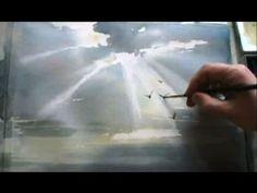 ▶ КАК научиться РИСОВАТЬ. Небесный свет АКВАРЕЛЬ - YouTube