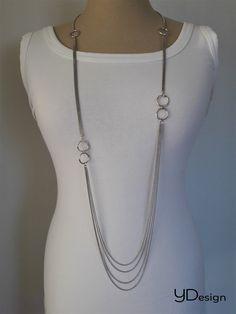 Zilveren lang collier