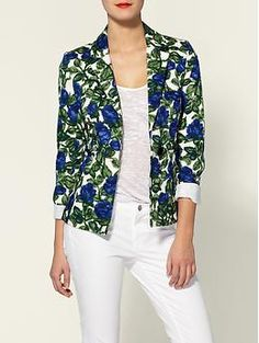 Just ordered this jacket. Usually I don't like single-button blazers, so we'll have to see how it looks in person. (Miranda Dinner Indigo Roses Print Jacket | Milly)