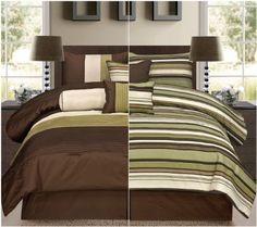 Harmony, 7 Piece Reversible Pin Tuck Design Comforter Set, Bed in Bag, Sage -. Bedroom Color Schemes, Bedroom Colors, Bedroom Decor, Modern Bedroom Furniture, Contemporary Bedroom, Bed Comforter Sets, Comforters, Small Bedroom Designs, Bed Designs
