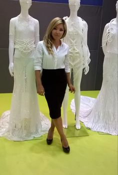 Dresses with 3D printing.