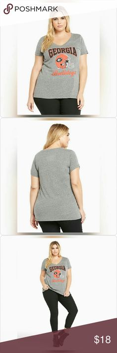 "JUST IN! NWT Georgia Bulldogs V-neck Tee NWT!  Torrid size 3/3x (22W-24W)  ""Go dawgs! This heather grey v-neck tee gives glory, glory to old Georgia with a black and crimson University of Georgia logo. The perfect tee to rock on game day or when you feel like showing off your UGA pride.""  Polyester/cotton/rayon Wash cold, dry low torrid Tops Tees - Short Sleeve"