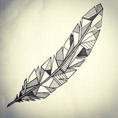 geometric feather tattoo - Google Search