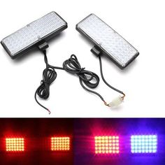 Pair LED Car Strobe Light Grille Flashing Escorting Lights Warning Light