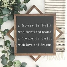 Wood Sign A House Is Built With Boards And Beams Hand Painted Home Decor Inspirational Decor F Felt Letter Board, Word Board, Home Decor Quotes, First Home, Where The Heart Is, Cute Quotes, Cozy House, Decoration, My Dream Home