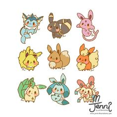 My Eeveelution babiessss Cute Kawaii Drawings, Kawaii Doodles, Kawaii Art, Pokemon Eeveelutions, Eevee Evolutions, Pokemon Comics, All Pokemon, Cute Kawaii Animals, Cute Pokemon Wallpaper