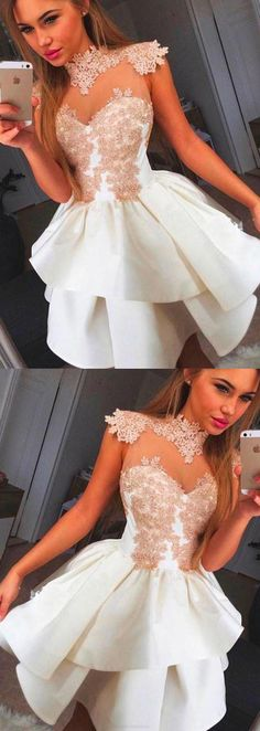 Dresses, 2017 Homecoming Dress Appliques High Neck Short Prom Dress Party Dress