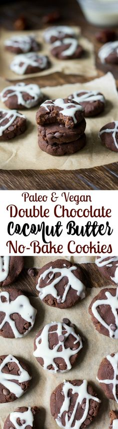 No Bake Chocolate Coconut Butter cookies - paleo and vegan, fruit sweetened, no refined sugar, healthy and kid friendly!