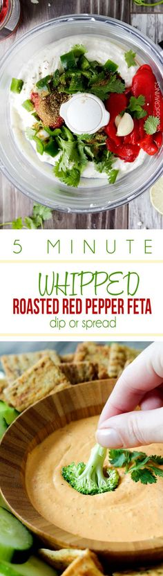 MEGA creamy Whipped Roasted Red Pepper Feta Dip or Spread is so addicting you will be dunking everything in it! The perfect party dip that everyone will LOVE and it only takes 5 minutes to whip up - literally! via @carlsbadcraving