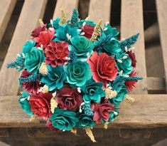 Teal and Maroon Wood Wedding Bouquet - ACCENTS AND PETALS