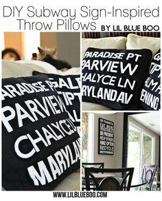 diy subway sign inspired throw pillow
