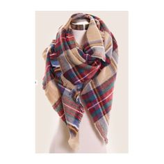 Plaid Oversized Blanket Scarf. featuring polyvore, fashion, accessories, scarves, black, clothing, tanks, tops, women's clothing, tartan scarves, oversized scarves, black scarves, plaid scarves and blanket scarf