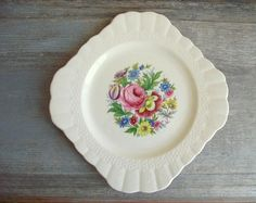 Square Floral Plate  1940s Ambassador Ware Plate  Simpsons