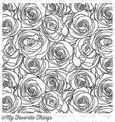 """MY FAVORITE THINGS: Roses All OverBackground Stamp (Unmounted Rubber) This package contains: Roses All Overbackground stamp measuring 5 ¾"""" x 5 ¾"""" – perfect f"""